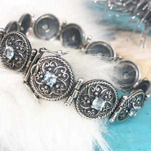 Vtg 925 Ornate Filigree Round Blue Topaz Bracelet